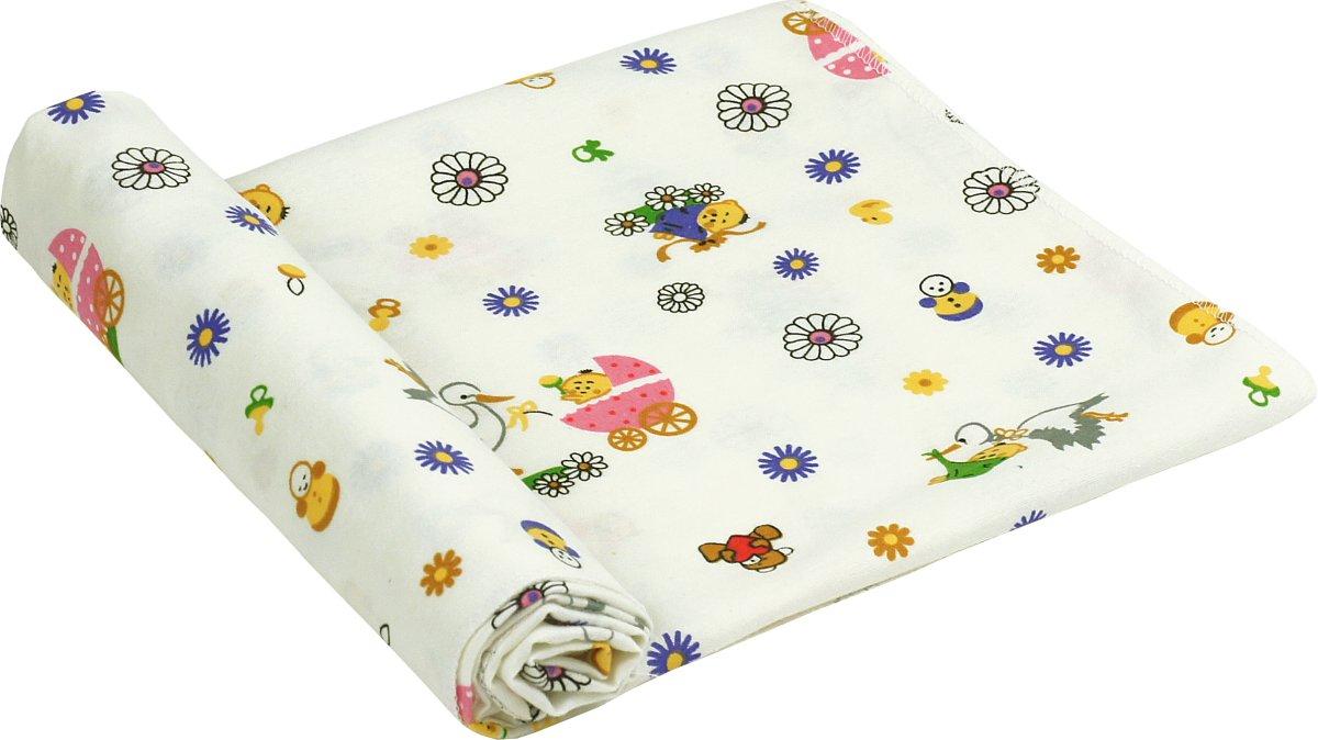 руно Пеленка Руно Хлопок 90x80 см Белая с журавлями (203.05_10-0320 pink)
